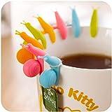 10pcs Cute Snail Shape Silicone Tea Bag Holder Cup Mug Candy Colors Gift Set
