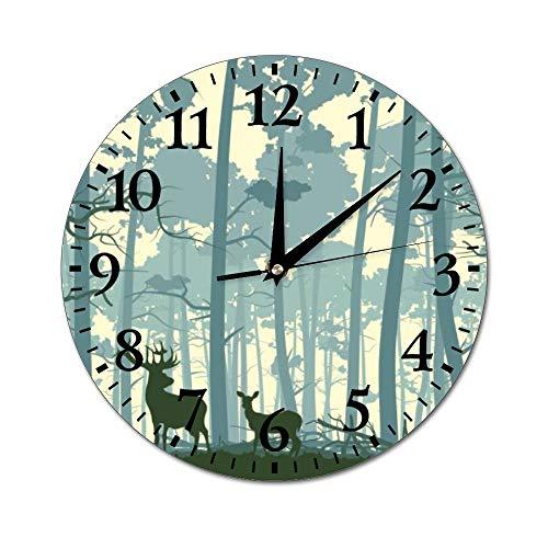 Fhdang Decor Reloj de Pared Abstracto de Estilo Vintage, silencioso, Redondo, para decoración del hogar, Redondo, fácil de Leer, para casa, Oficina, Escuela, 10 Pulgadas