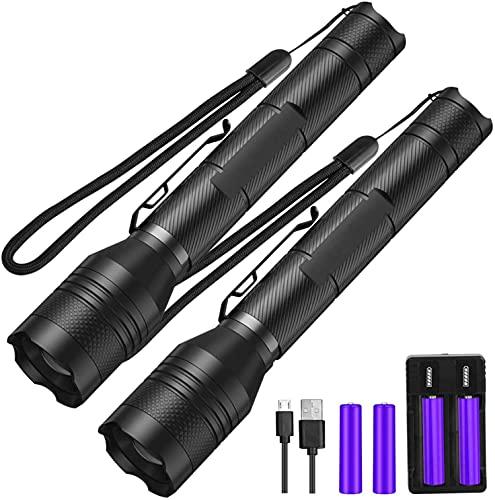 LED Taschenlampe 2 Stück,Superhelle 1500 Lumen CREE taschenlampe led,5 Licht Modi,Wiederaufladbare Taschenlampe Geocaching Geräte mit Zoom