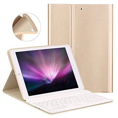 Keyboard Case for New iPad 2018/2017 9.7' / iPad Air/iPad Air 2 - GOOJODOQ [Upgrade] Soft TPU Back Stand Cover[Viewing Angle Adjustable]+Magnetically Detachable Wireless Bluetooth V3.0 Keyboard