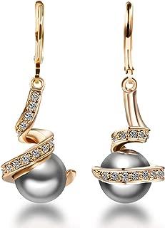 Boucles doreilles non perc/ées Cristal Boucles doreilles Perle blanche clips 18K plaqu/é Or rose Cadeau Femme Maman pour Mariage Anniversaire F/ête