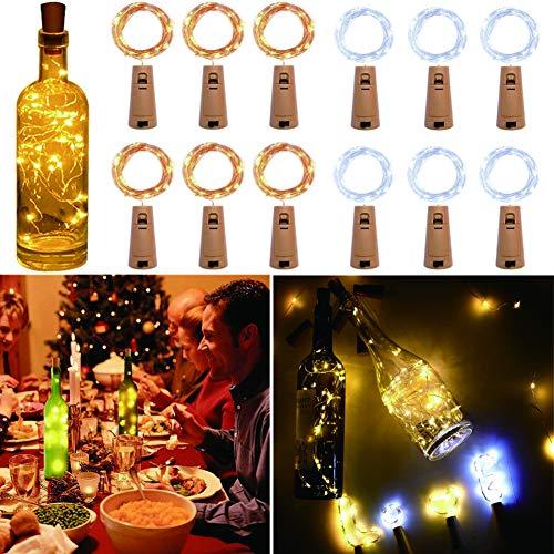 YFLFTST Luz de Botella, [12 Pack] 2m 20LED Luces Decorativas de Interior y Exterior de Cadena de Alambre de Cobre para Fiestas, Jardín, Navidad, Bodas [Clase de Eficiencia Energética A +++]