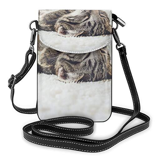 Sconosciuto A gatto sdraiato sul divano, piccole borse a tracolla per telefono cellulare – Borsa da donna in pelle PU con cinghia regolabile per la vita quotidiana