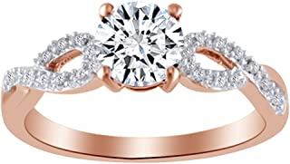 Round Cut Simulated White Sapphire & White Cubic Zirconia Fashion Ring in 10k Solid Gold