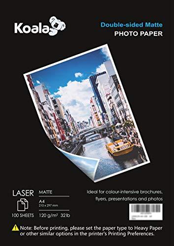 KOALA Fotopapier für Laserdrucker, Doppelseitig, Matt, A4, 120 g/m², 100 Blatt. Geeignet zum Drucken von Fotos, Zertifikaten, Broschüren, Flyern, Faltblättern, Grußkarten, Kalendern, Kunst