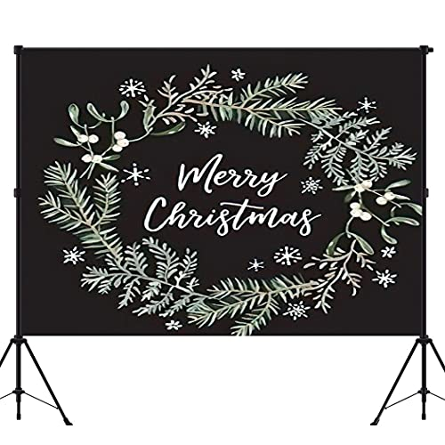 BEEQY Xmas Wreath Photography Backdrop, Merry Christmas Black Green Twigs Fern Mistletoe Snowflakes Nature Vinyl Photo Background Photography Booth Props Wall Decoration, 5 x 7FT