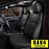 Custom Fit Car Seat Covers for 2019 2020 2021 Toyota RAV4 Waterproof Faux Leather Full Set Compatible Airbag Rav4 Seat Protector Black(Not for RAV-4 XLE LE)