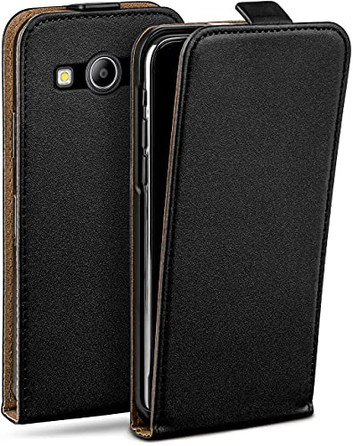 moex Flip Hülle für Samsung Galaxy Ace Style - Hülle klappbar, 360 Grad Klapphülle aus Vegan Leder, Handytasche mit vertikaler Klappe, magnetisch - Schwarz