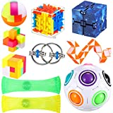 10 Pieces Fidget Toy Set Include Infinity Cube Puzzle Ball Stereo Maze Flippy Chain Snake Cube Marble Mesh Toy Assembled Blocks Anti-Anxiety Tools for Kids and Adults, 9 Styles