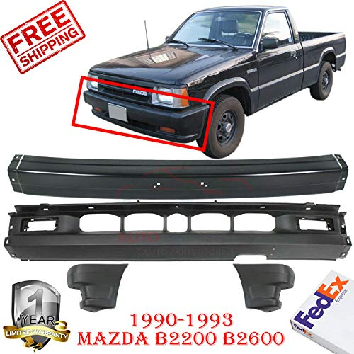 New Front Bumper Primed + Lower Valance Primed + Bumper Ends Primed With Air Holes LH & RH Side For 1990-1993 Mazda B2200 B2600 2WD Pickup Direct Replacement