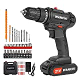 Cordless Drill Driver Kit, WANCHI 21V MAX Li-Ion Battery Power Drill Set, Electric Drill with 3/8' Keyless Chuck, 25+1 Torque Setting, 49pcs Accessories, Variable Speed for Drilling and Screwdriving