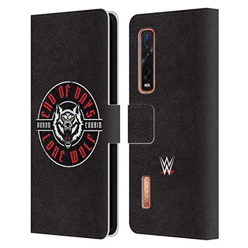 Head Case Designs Licenciado Oficialmente WWE Lobo Solitario 1 Barón Corbin Carcasa de Cuero Tipo Libro Compatible con OPPO Find X2 Pro 5G