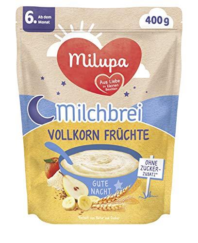 Milupa Milchbrei Vollkorn Früchte, Babybrei ohne Zuckerzusatz, Babynahrung ab dem 6. Monat (4 x 400 g)