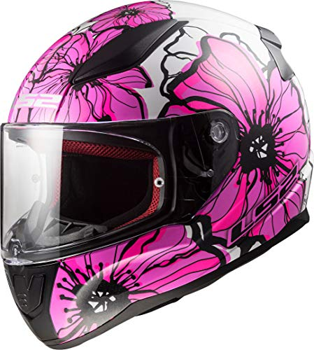 LS2 Casco de moto RAPID POPPIES Rosa, Blanco/Rosa, XS