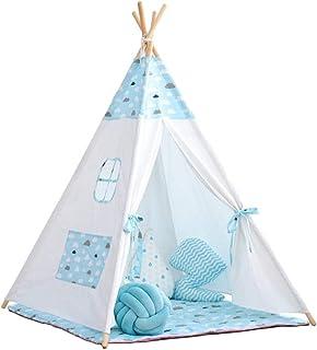 Vobajf Lektält barn tipi-tält barn leker tält inomhus och utomhus idealisk storlek för barnrum festlektält (färg: Blå, sto...