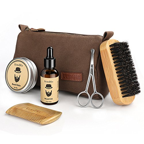 Beard Grooming & Trimming Kit - 6 Mustache Care Set for Men Care | Beard Oil | Mustache Beard Balm Wax | Beard Brush | Beard Comb | Barber Scissors - Best Gift Set for Mens Beard (6 set)
