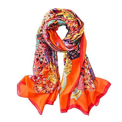 QYX Große Seidentücher für Frauen Stilvoll Orangene Blume Seidentuch Haare Maulbeerseide Sonnenschutz Schals Wickel Druckmuster Langer Satinschal Halsschal für Damen