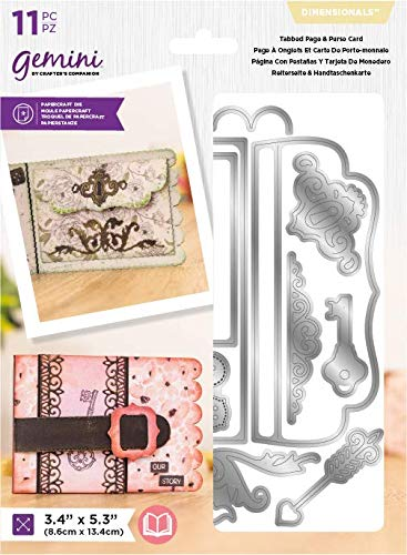 Crafter's Companion Gemini Metal Die-Dimensionals-Tabbed Page & Purse Card, One Colour, Size