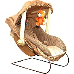 Tender Care 12-in-1 Musical Carry Cot Bouncer with Storage Box and Mosquito Net for New Born Baby (Beige),Tender Care