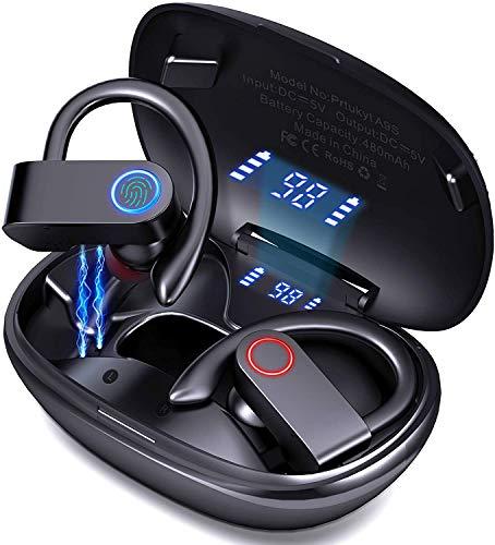 Cuffie Bluetooth Sport, Auricolari Bluetooth 5.0 Senza Fili con Bassi Potenziati, Auricolari Wireless In Ear con HD Microfono, 38 Ore di Riproduzione, Display LED, IPX5 Impermeabile, per Correre
