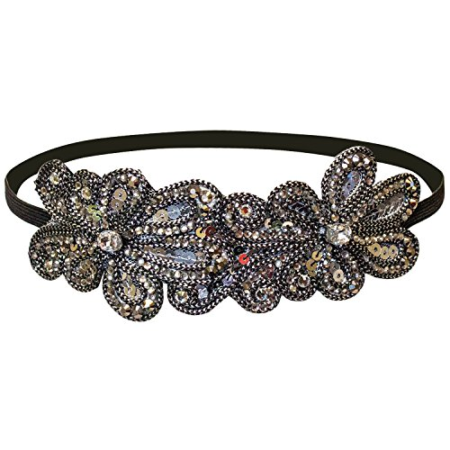 Mia Beaded And Sequins Embellished Headband-Gunmetal And Silver Sequins On A Black Elastic Band-Beautiful And Stylish-One Size Fits All! Decorative Piece Measures 7 Inches Long X 2 Inches Wide-1piece