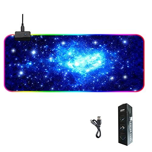 TOTTITTOT Alfombrilla de ratón RGB para videojuegos, tamaño grande, 800 x 300 x 4 mm, con 14 modos de luz, antideslizante, impermeable, para computadora de escritorio y portátil, color negro (Galaxy)