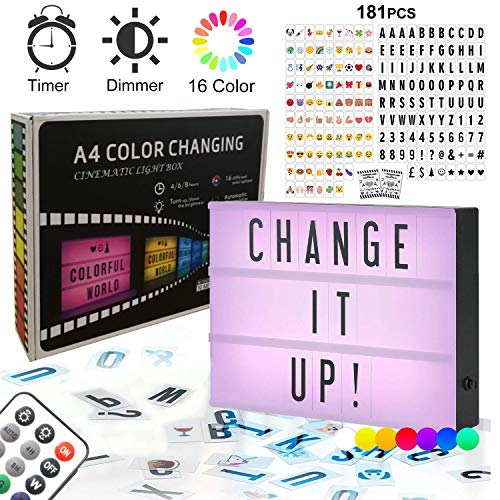 Cine Caja de Luz LED A4 - Combinación libre Cartel Luminoso Cinematográfico Luces Cálida Cinema Light Box con 181 Letras Números Símbolos Emojis Decorativas de bricolaje para...