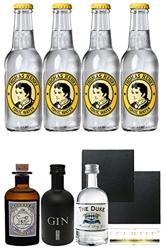 Gin Probierset 1 x Monkey 5 cl, 1 x The Duke 5 cl, 1 x Black Gin 5 cl + 4 x Thomas Henry Tonic Water 0,2 Liter + 2 Schieferuntersetzer