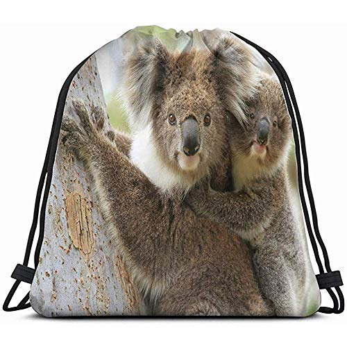 OUSHENGMAOYI Personalised Drawsting Bags,Female Koala Young Joey On Her Animals Wildlife Drawstring Backpack Sports Gym Bag For Women Men Children Large Size With Zipper And Water Bottle Mesh Pockets