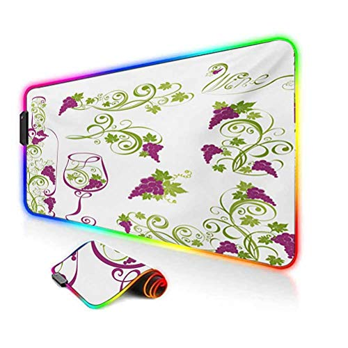 RGB Gaming Mouse Pad,Wine Bottle and Glass Grapevines Lettering with Swirled Branches Lines Led Mousepad with Non-Slip Rubber Base,35.6'x15.7',for MacBook,PC,Laptop,Desk Purple Lime Green White