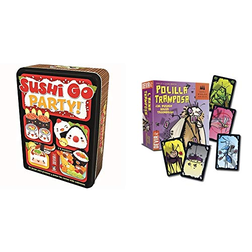 Devir - Sushi Go Party: edición en Castellano, Juego de Mesa (BGSGPARTY) +  -  Juego Polilla Tramposa (BGPOLI)