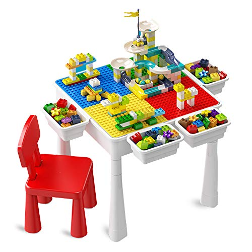 Toddler Activity Table Kids Table amp Chair Set AllinOne Multi Activity Playset Compatible Building Block and Water Table Outdoor Play Sand Table 100PCS Track  50PCS Large Building Blocks