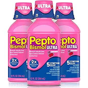 Pepto Bismol Ultra Liquid 2X Concentrated Formula Upset Stomach Relief Bismuth Subsalicylate Multi-Symptom Gas Nausea Heartburn Indigestion Diarrhea Relief Cherry 12 OZ Liquid  3 Pack