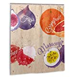 LINARUBE Duschvorhang,Obst-Set Gezeichnete Aquarell-Flecken & Flecken mit einem Spray Feigen,Grapefruit-Stoff Badezimmer-Dekor-Set mit Haken 150 cm x 180 cm