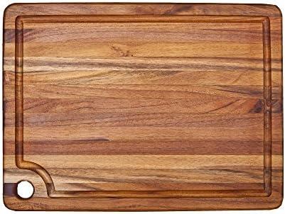 Teakhaus Edge Grain Carving Board W Corner Hole Juice Canal Rectangle 18 X 14 X 0 75 Home Kitchen