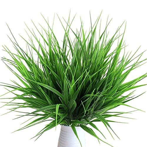 Lvcky 4 Ramos realistas de plástico Artificial Plantas de Trigo Artificial Hierba verdor arbustos de plástico Artificial para al Aire...