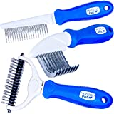 Horicon Pet Ultimate Pet Dematting & Deshedding Set - 3 in 1 Grooming Tool Set - Dual Sided Undercoat Rake, Dematting Razor Comb & Detangling Pet Comb