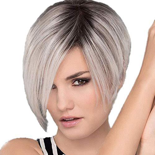 Hairpieces Ladies Wig Short Curls Kits de perruques de couleurs mélangées de dégradé Importé Haute Température Soie Synthétique Résistant À La Chaleur Naturel Cheveux A