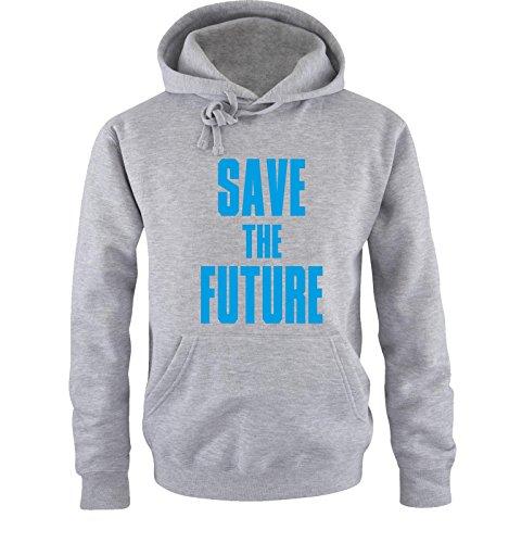 Comedy Shirts - SAVE THE FUTURE - hommes capuche - gris/bleu taille L