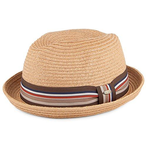 Village Hats Chapeau Trilby en Paille à Bandeau Rayé Toast Scala - Large