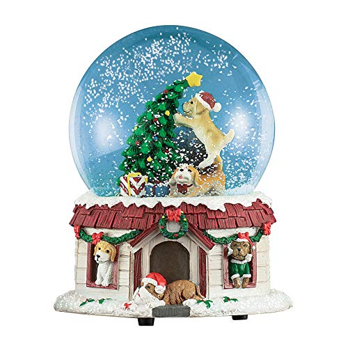 Collections Etc Christmas Pets Musical Snow Globe Decoration, Dog