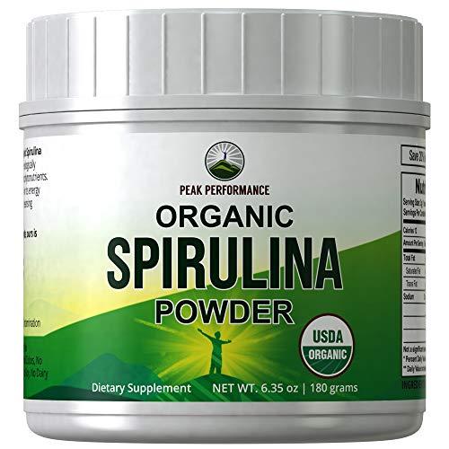 Organic Spirulina Powder by Peak Performance. Ecologically Grown Organic Vegan Algae Superfood. Non