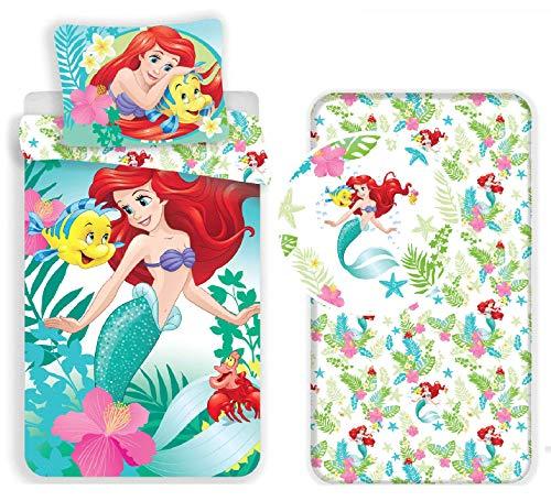 L.T.Preferita Disney Ariel Sirena - Juego de cama individual con funda nórdica + funda de almohada + sábana bajera de algodón