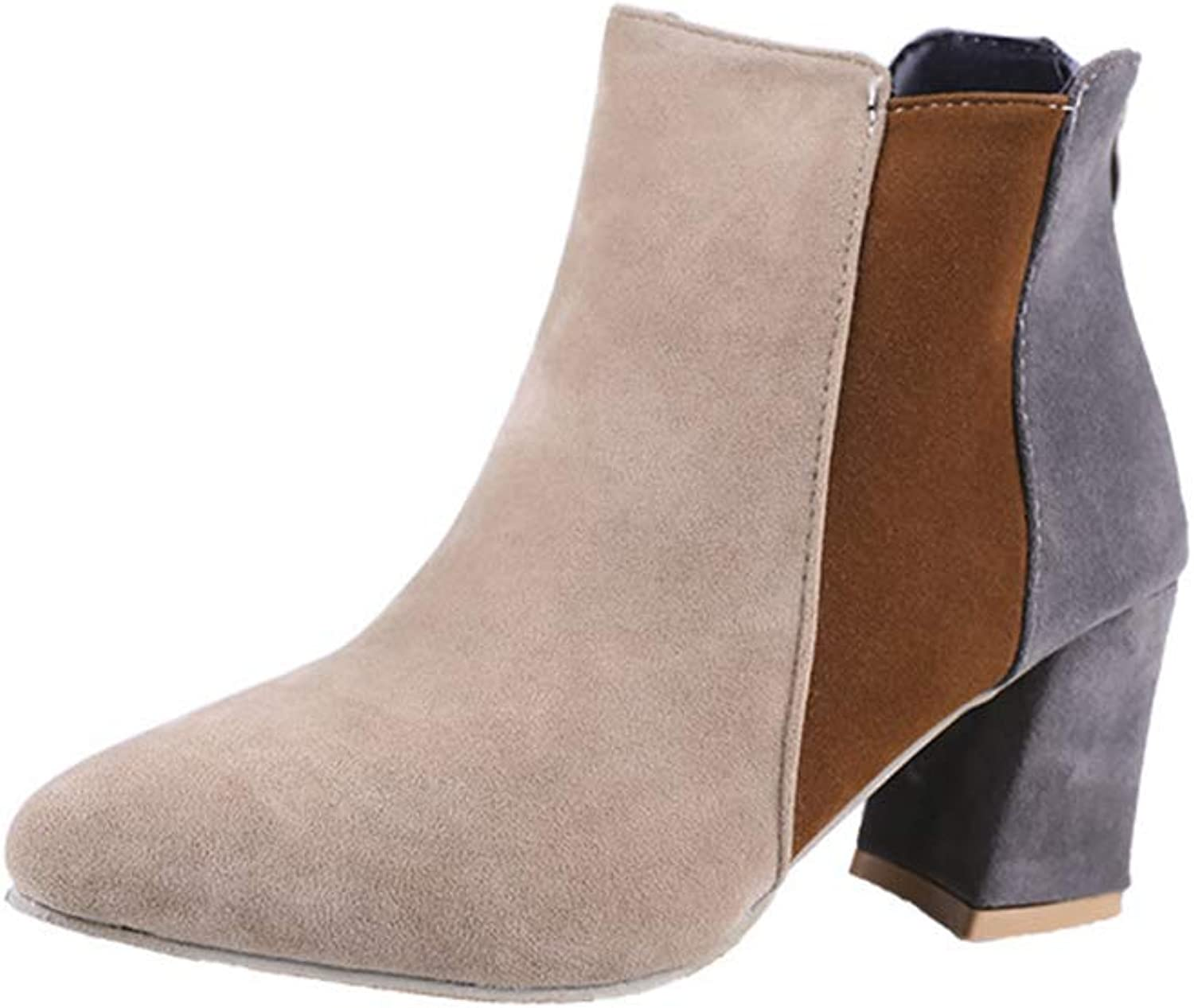 Mix-color Suede Ankle Boots for Women,Chunky Block Heel Booties, Fashion Back Zipper Martin Boots