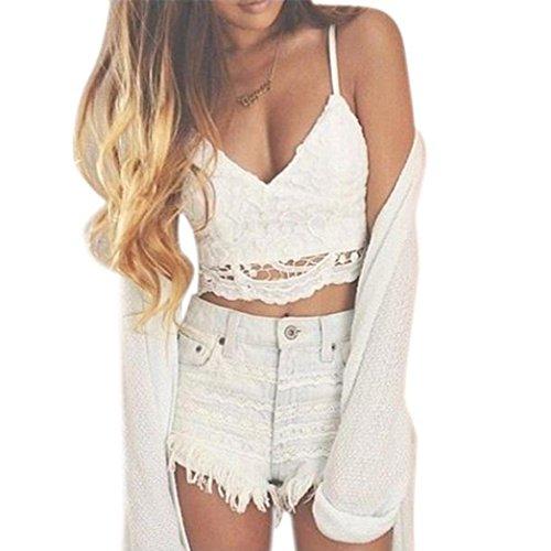 Xinan Mode Damen Weste, Frauen Crochet Behälter-Unterhemd Spitze Weste Bluse Bralet Bra Crop Top (L, Weiß)