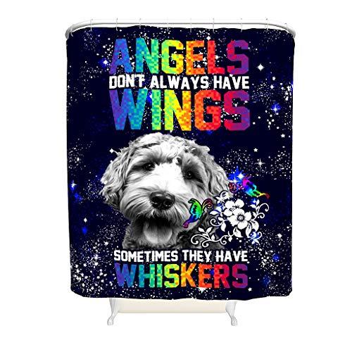LIFOOST Cortina de ducha, diseño de alas de ángel y whiskers con impresión universal, fácil de lavar, juego de cortinas blanco 200 x 200 cm