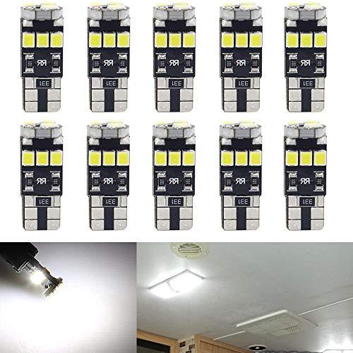 Qoope- 10 Stück T10 12V Weiß Canbus Fehlerfreie Glühlampen ersetzen die Lampe 194 168 501