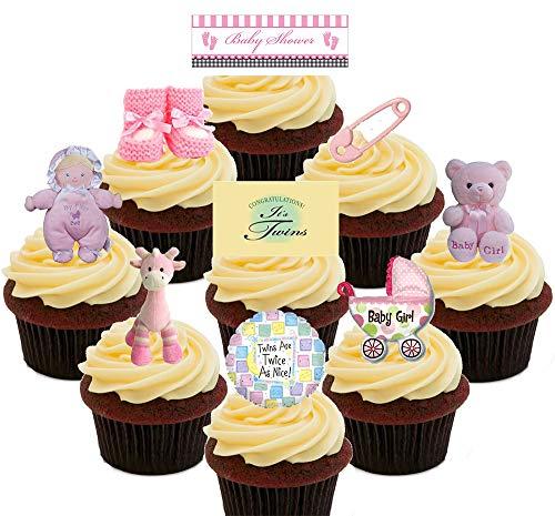 Obleas decorativas para colocar de pie en tartas y magdalenas, con diseño alusivo a la celebración del nacimiento de gemelas o mellizas, comestibles, Pack of 36