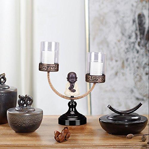 Portacandele Monk in Ferro battuto Candelabro Singolo/Doppio Candeliere Cinese Zen Creativo/Decorazione libreria (Colore : Double Head candlestick)