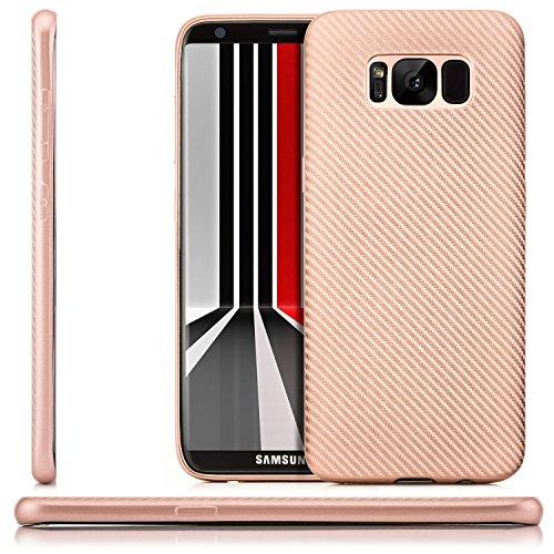 zanasta Custodia Samsung Galaxy S8 Plus Cover Silicone Case Flessibile, Ultra Sottile Copertura Premio Flessibile e Durevole Structure Carbonio Design Rosa
